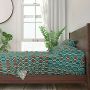 Wave Abstract Waves Red Blue Turquoise 100 Cotton Sateen Sheet Set By Roostery