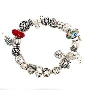 Authentic Sterling Silver Pandora Charm Bracelet 7 1/2 Inches Long