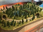 N Scale Layout Scenic Forest ,lake Display Garden Diorama W/tracks Oval 24x36