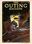 Home Decor Less 1912 The Outing Magazine Cover Wildlife Cougar Metal Tin Sign
