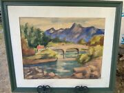 Vintage 1940andrsquos Seattle Washington Watercolor Painting By Olive Bristol