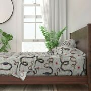 Garden Snake New Year Serpent Snakes Of 100 Cotton Sateen Sheet Set By Roostery