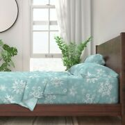 Snow Snowflake Winter Blue Holiday 100 Cotton Sateen Sheet Set By Roostery