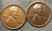 1923-p 1923-s Lincoln Wheat Cents Pennies Two Coins Free Ship. H143