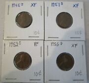 Lincoln Wheat Penny Set Of 41945-s, 1951-s, 1952-s, 1956-d
