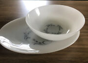 Pair Fire King Suburbia Harvest Grey Wheat Serving Bowl And Tray
