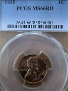 1935 Red Pcgs Ms-66 Red Lincoln Bu Coin Uncirculated Cent Listed Whole Set