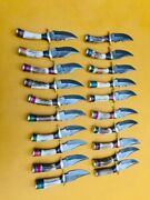 Custom Hand Made Damascus Steel Stag Hunting Knifes 6andrdquolot Of 100.