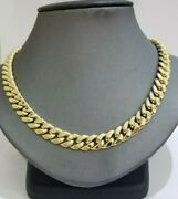 Real Gold Mens Chain 9mm 20-30 Miami Cuban Link Necklace 10k Yellow Gold Box L