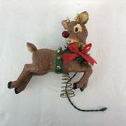 Rare Midwest Of Cannon Falls Rudolph The Red Nose Reindeer Tree Topper Tested