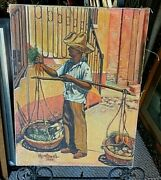 1949 Hy Vogel Oil Painting On Canvas Jamaica West Indies Carrot Vendor