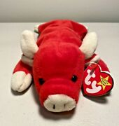 Extremely Rare Snort Ty Beanie Baby Pvc Pellets Tag Errors W/ Numeric Date