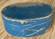Antique 19th C. Oval Pantry/spice Box W/ Fingers And Original Blue Paint. Aafa