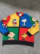 Chinti And Parker Peanuts Colorblock Pullover Cotton Sweater Xl Snoopy Woodstock