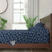 Bromeliad Indigo Navy Blue And White 100 Cotton Sateen Sheet Set By Roostery