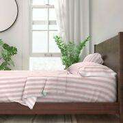 Peach White Pink And White Pale Pink 100 Cotton Sateen Sheet Set By Roostery