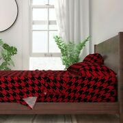 Red Houndstooth Dogtooth Dogstooth 100 Cotton Sateen Sheet Set By Roostery