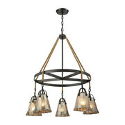 Elk Lighting 10631/5ch Hand Formed Glass 5-lght Chandelier In Oiled Brnz With