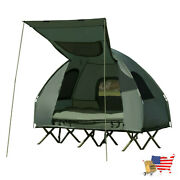 Tent 2 Person Compact Portable Pop Up Tent Air Mattress And Sleeping Bag Army Gr
