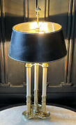 """Stiffel Brass French Bouillotte Candlestick 3-way Table Desk Lamp With Shade 30"""""""