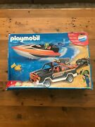 Playmobil 3399 Truck With Powerboat New But Damaged Box