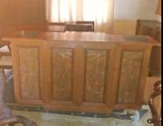 Antique Wood China Wine Cabinet On Wheels Carved Outside And Inside