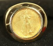 14k Menand039s Gold Coin Ring. W/1/10oz Am Gold Eagle Coin 15.06grams Total Wt. Sz 9