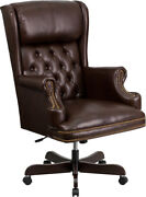 Flash Furniture High Back Office Chair With Oversized Headrest And Nail Trim Arms