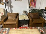 Pair Of Restoration Hardware Leather Belgian Track Arm Chairs