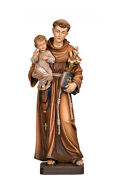 Saint Anthony Of Padoue Statue Wood Carved Handmade En Italy