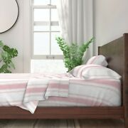 French Stripe Pink Neutral Ticking 100 Cotton Sateen Sheet Set By Roostery