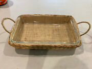 Old Pyrex 232 Corning Cake Casserole Bake Pan Dish W Wicker Holder Oven To Table