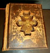 Antique 1897 Holy Bible Holman Pronouncing Edition Illustrated Vtg Needs Repair