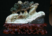 16.4 Natural Dushan Jade Hand Carved Tree Old Man Boy Birdge River House Statue