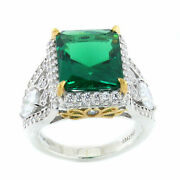 Hsn Jean Dousset Absolute 2 Tone Emerald Radiant Cut Pave And Pear Ring 7 279