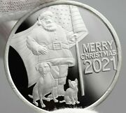2021 Christmas Silver Patriotic Santa With Dog And Cat 1 Oz Silver Coin