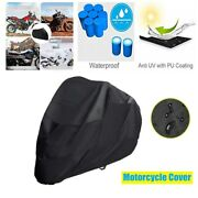 Black Waterproof Motorcycle Cover Shelter Rain Uv All Weather Protection Guard