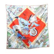 Authentic Hermes Carre 90 Limited Design Scarf Silk Red Multicolor