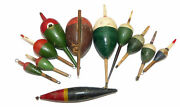 11 Vintage Fishing Floats Bobbers, Pike, Avon Chub 3 To 6 With Quills And P...