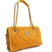 Matelasse Chain Shoulder Bag Women And039s Orange Silver Fittings A66805