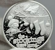 2021 Christmas Silver Round Snow Birds And Stockings 1 Oz Silver Coin