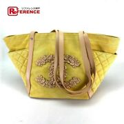 Shawl Shoulder Bag Quilting Flower Cc Tote Canvas/leather Yellow Women And039s
