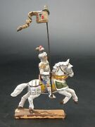 German Lineol Knight On Horse With Flag Toy Figurine Pre War