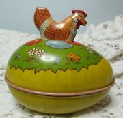 Chein Tin Litho Easter Egg Hen On Top Wonderful Condition