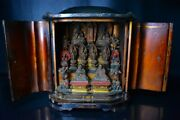 Edo Period Temple Brewery Wood Carving Lacquer Gold Buddha Statue Kitchen In