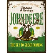 John Deere Tradition Tin Sign Shield 3d Embossed Arched 11 13/16x15 11/16in