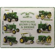 John Deere Models Tin Sign Shield 3d Embossed Arched 11 13/16x15 11/16in