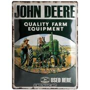 John Deere Father And Son Tin Sign Shield 3d Embossed 11 13/16x15 11/16in
