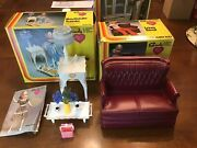Vintage Marx Toys Sindy Doll Bedside Table Couch Loveseat 1978 Box Lot Barbie