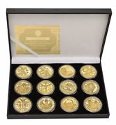 🔥 12 Constellations Zodiac Gold Plated Coins Box Set Very Nice Collection